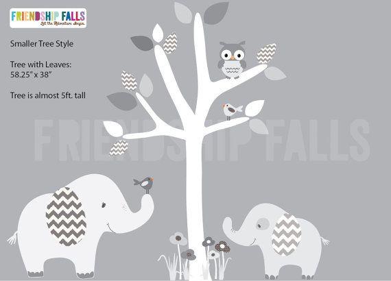 nursery Jungle Decal, elephant Wall Decal, Nursery Wall Decal, Friendship Falls XXL Branch Tree Set - Grey White Chevron Scene