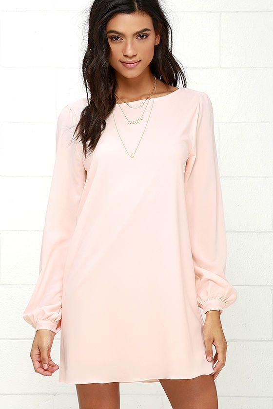 Perfect Situation Blush Pink Long Sleeve Shift Dress | Business ...