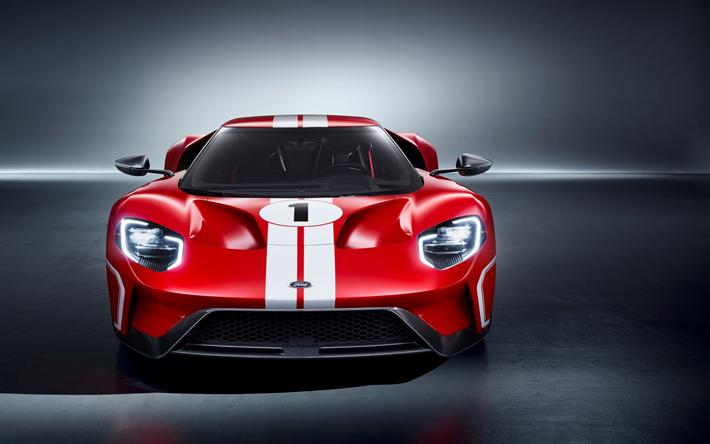 Download Wallpapers Ford Gt  Heritage Edition  Front View Sports Car Red Gt American Cars Ford