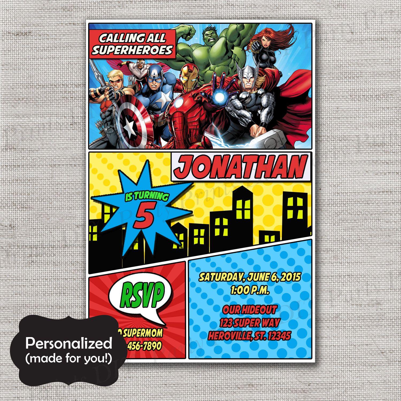 Superhero Birthday invite,Avengers Birthday invitation,JPG file ...