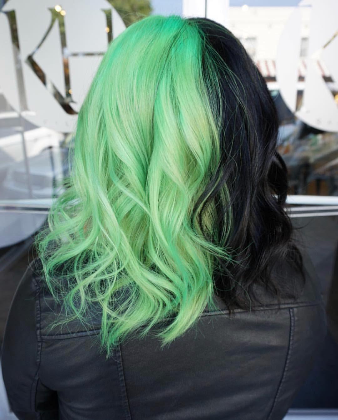 Half Neon Green Half Black Hair Hair By Jaylen Zanelli Jaylenzanelli On Instagram Jaylenzanelli Com Hair Styles Split Dyed Hair Green Hair