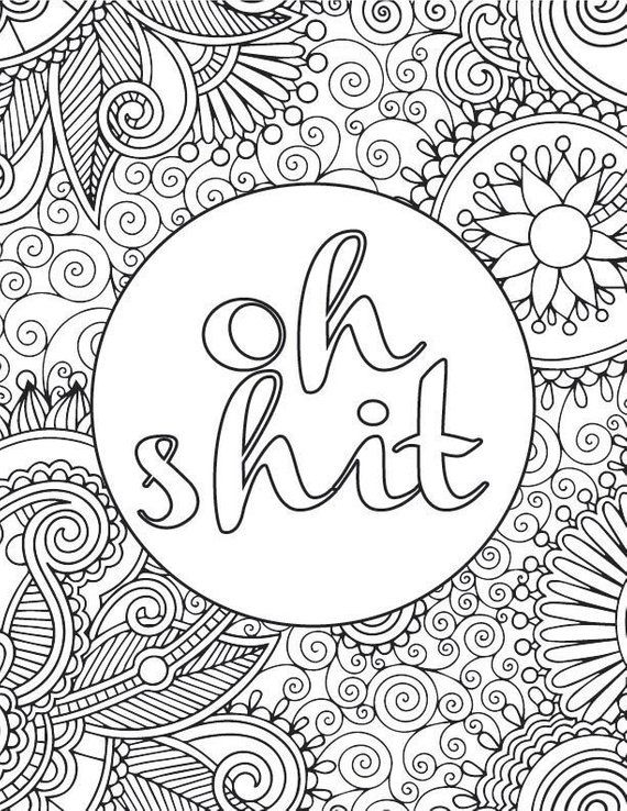 Printable Adult Coloring Book Page: OH SHIT | Products | Adult ...