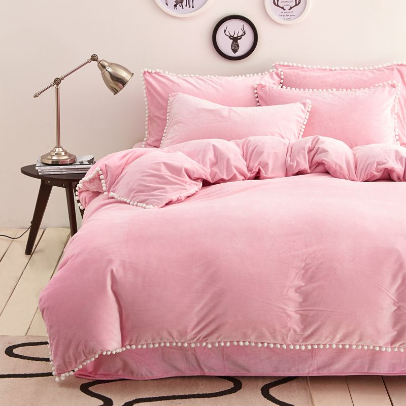 light pink solid crystal cashmere duvet cover set pompom bedding pillowcases warm bed sheet queen king