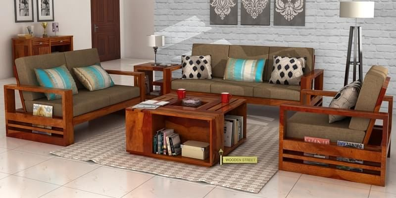 Elegant Wooden Sofa Set Designs With Price : Shop Sheesham Wooden Sofa Set In UK At  Best Prices. Modern Wooden Sofa With Storage, Solid Wood Sofa For Living  Room