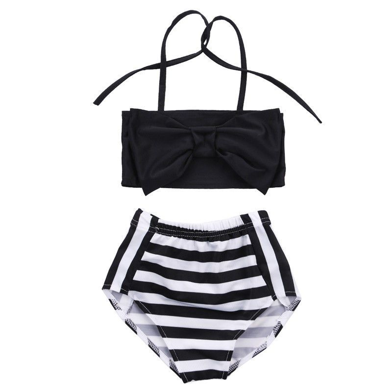 d836e8a2151e9 2pcs Bowknot Baby Girl Kids Swimwear Bikini Set Striped Tankini Swimsuit  Costume