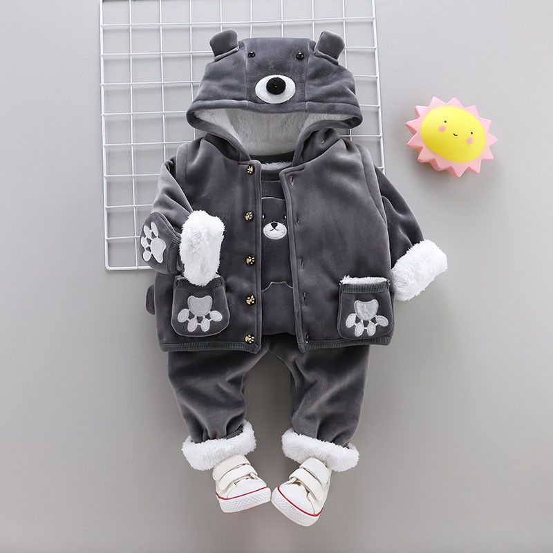 3c1f8bc6 3PC Winter Baby Boys Clothes Sets Kids Boy Outfits Suits Coat T ...
