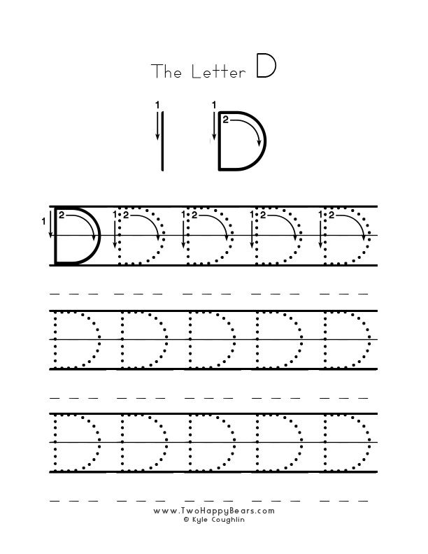 Practice worksheet for writing the letter D, upper case, with - suggestion letter