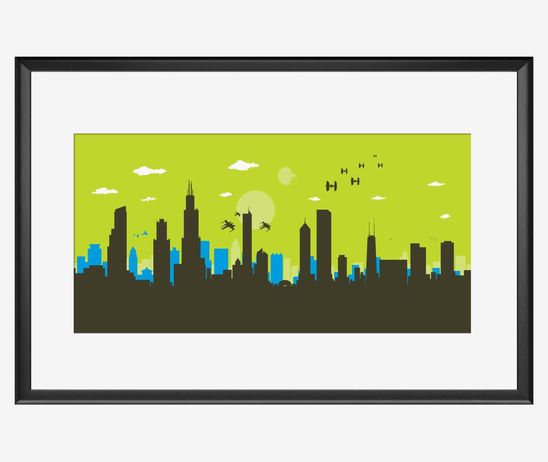 Chicago Skyline Print, Star Wars inspired art, Chicago poster ...