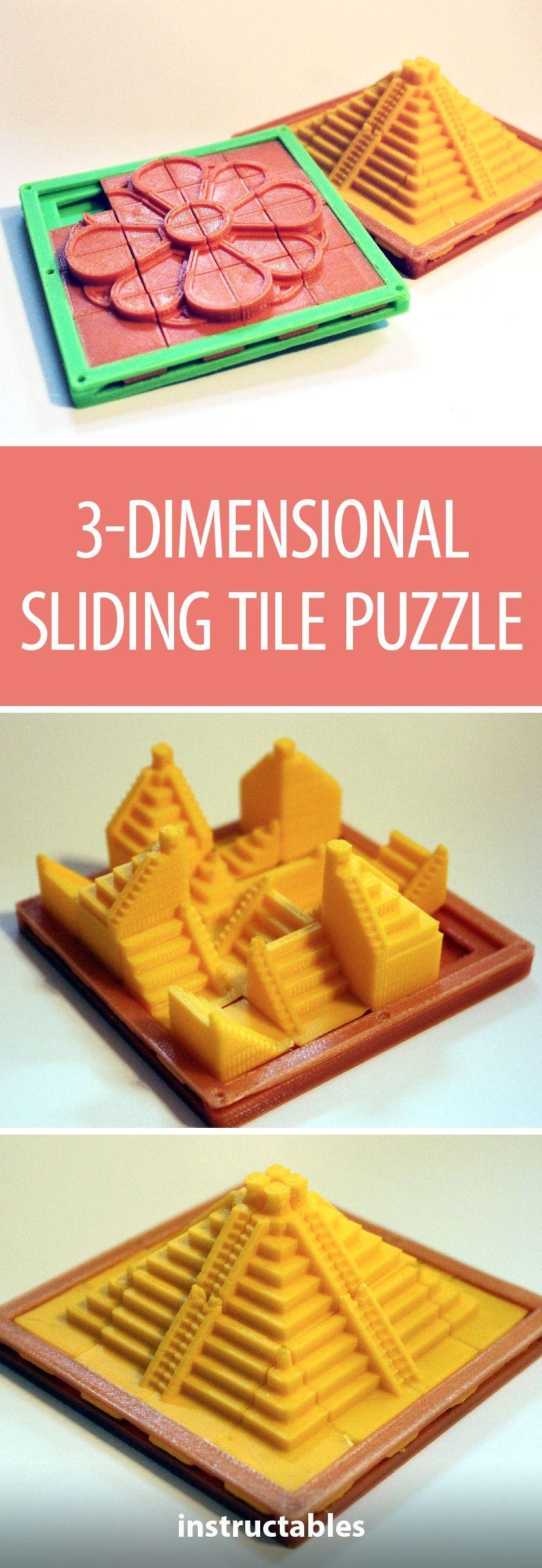 3dimensional sliding tile puzzle 3d printer designs 3d