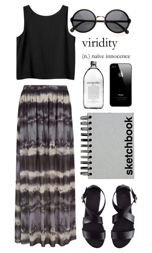 """""""cymbaline"""" by sixtwenty-one ❤ liked on Polyvore featuring Coco's Fortune, H&M, Monki, Paperchase, maxi skirt, tank top and crop top"""