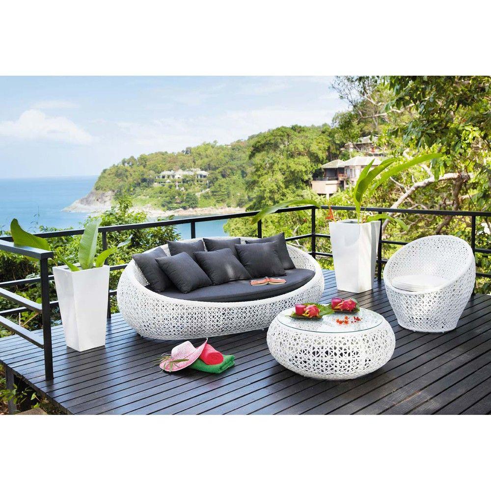 3 Sitzer Gartensofa Aus Kunstharzgeflecht, Weiß