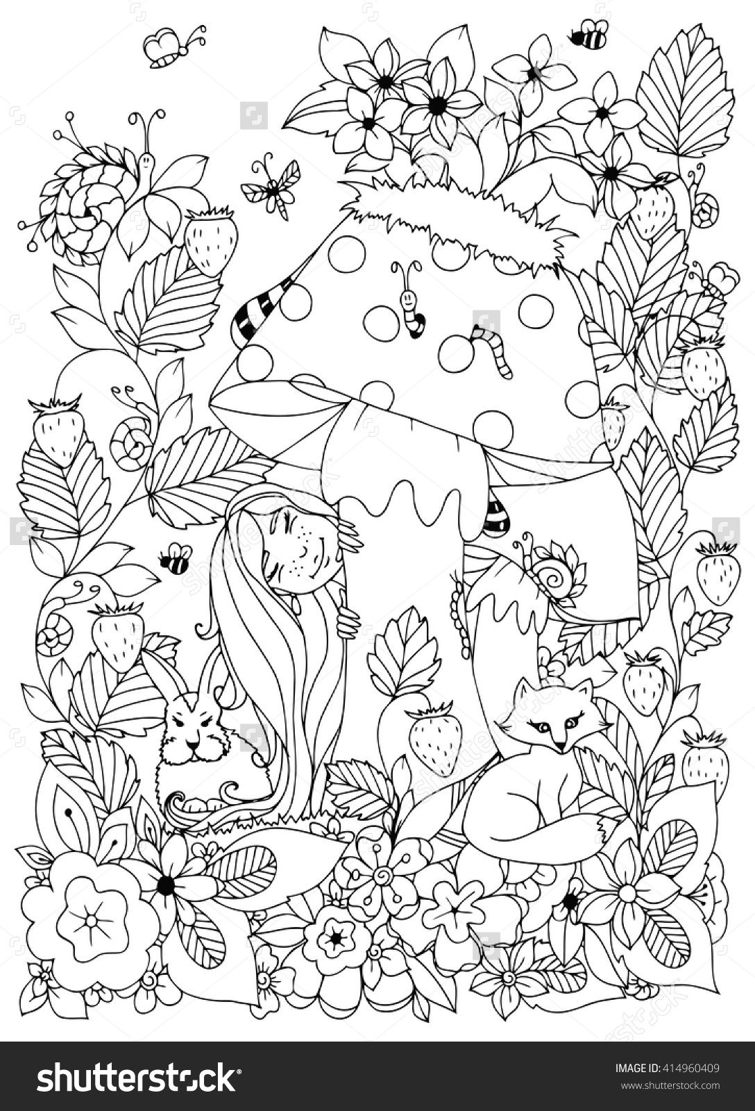 Vector Illustration Zen Tangle Girl With Freckles Hid Behind A Mushroom Doodle Flowers Forest Animals Coloring Book Anti Stress For Adults