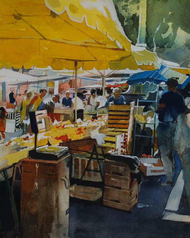 Fine watercolor art for sale -  A French Market Original Fine Art For Sale David Morris