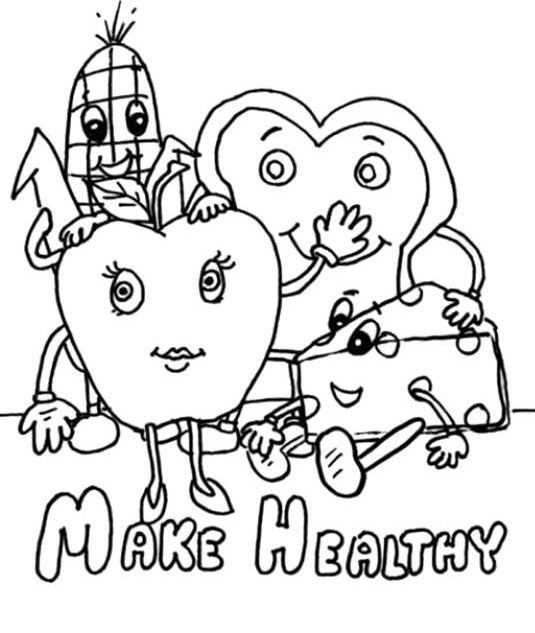 Make Healthy Food Choices Coloring For Kids Coloring Pages For Kids Coloring Pages Food Coloring Pages