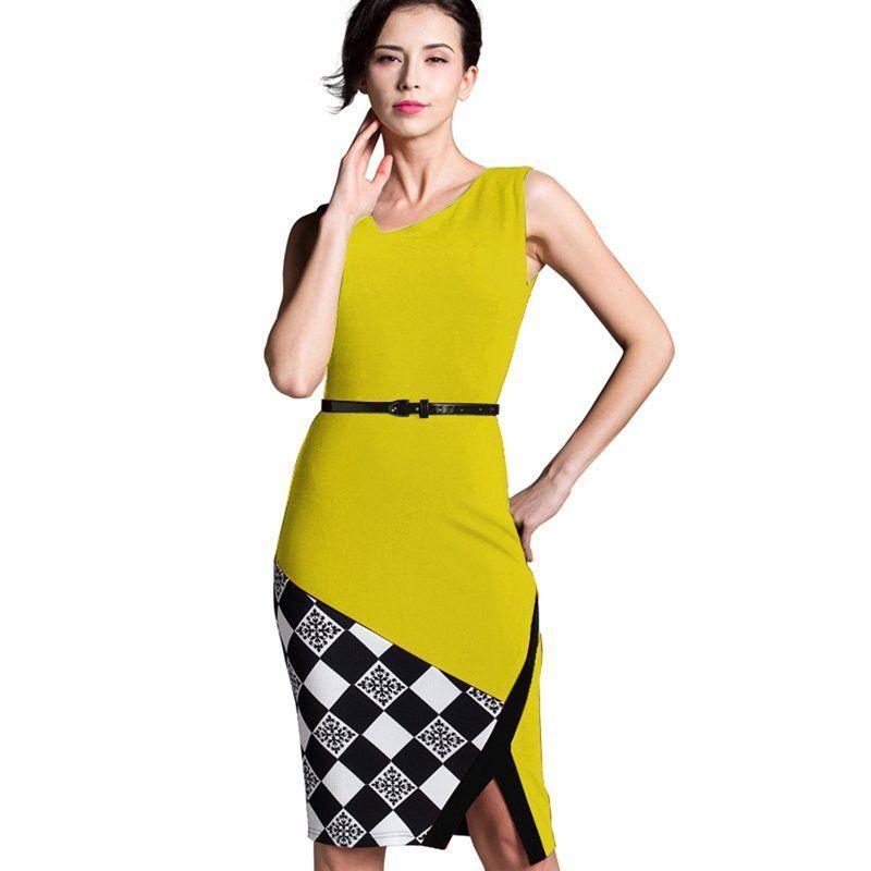 New Summer Arrival Formal Dresses Work Knee Length Black Grid Cotton