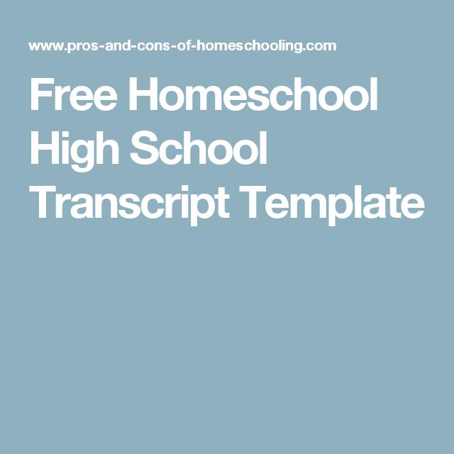 free homeschool high school transcript template