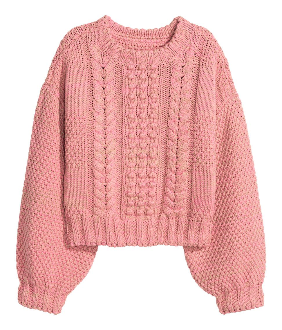 Short, pattern-knit sweater in a melange cotton blend with wide ...