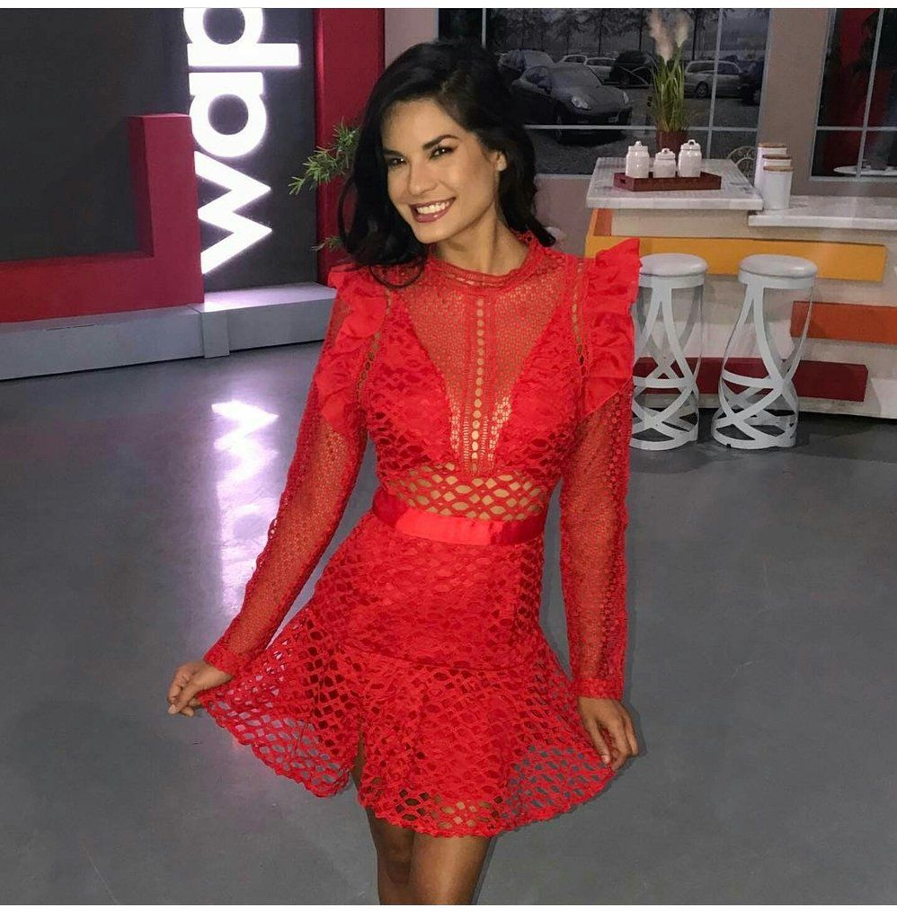 Red long sleeves dress embroidered sheer sleeves dresses