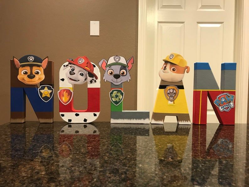 Paw Patrol Custom Name Letters  price is per letter - Paw patrol birthday, Paw patrol birthday party, Paw patrol party, Paw patrol, Mickey mouse 1st birthday, Paw patrol names - These are priced per letter Please make sure to order the correct quantity of letters from the drop down box to spell the name you would like  These custom made letters are painted and decorated to look like the Paw Patrol Characters and are 8  tall    These are lightweight and made of mâché material   They can stand on their own except for the letters F, J, P These can be made in any color and have any letters to spell any words    If there is something different you would like, please convo me and I will work with you to come up with something you are sure to love   These are great for birthday parties, new babies, children's rooms, ect  NOTE This item is not a licensed product and I do not claim ownership over the images used  This listing is strictly for my TIME AND CREATIVITY to make your custom party decorations and save you time   All copyrights and trademarks of the images used belong to their respective owners and are not being sold