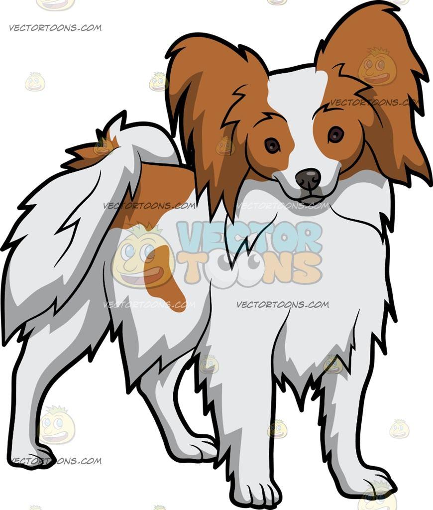 An Alerted Papillon Dog Papillon Dog Dog Sketch Cartoon Dog [ 1024 x 870 Pixel ]