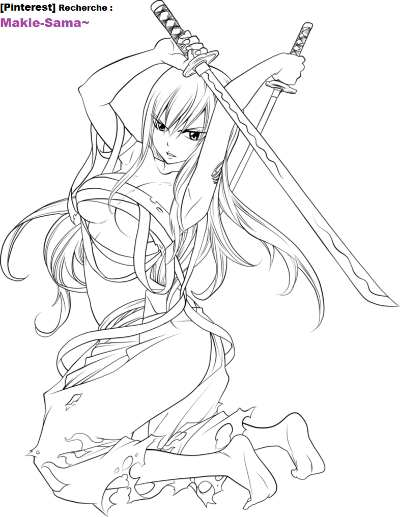 Erza Coloriage Fairy Tail Fairy Coloring Pages Fairy