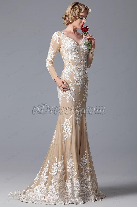fd806d52145b V Cut Lace Applique Evening Gown Formal Dress (02150614) | Wedding ...