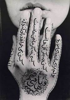 Shirin Neshat (Iranian artist) who uses so many texts in her works and also her objects are most about women.