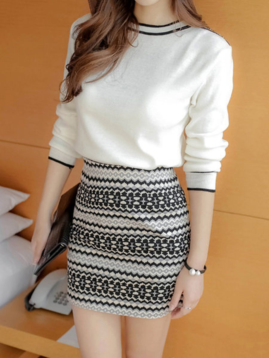 Round Neck Knitted Printed Top And Mini Skirt - CheapClothingCity.com |  Full sleeves dress, Women sweaters winter, Chiffon blouse long sleeve