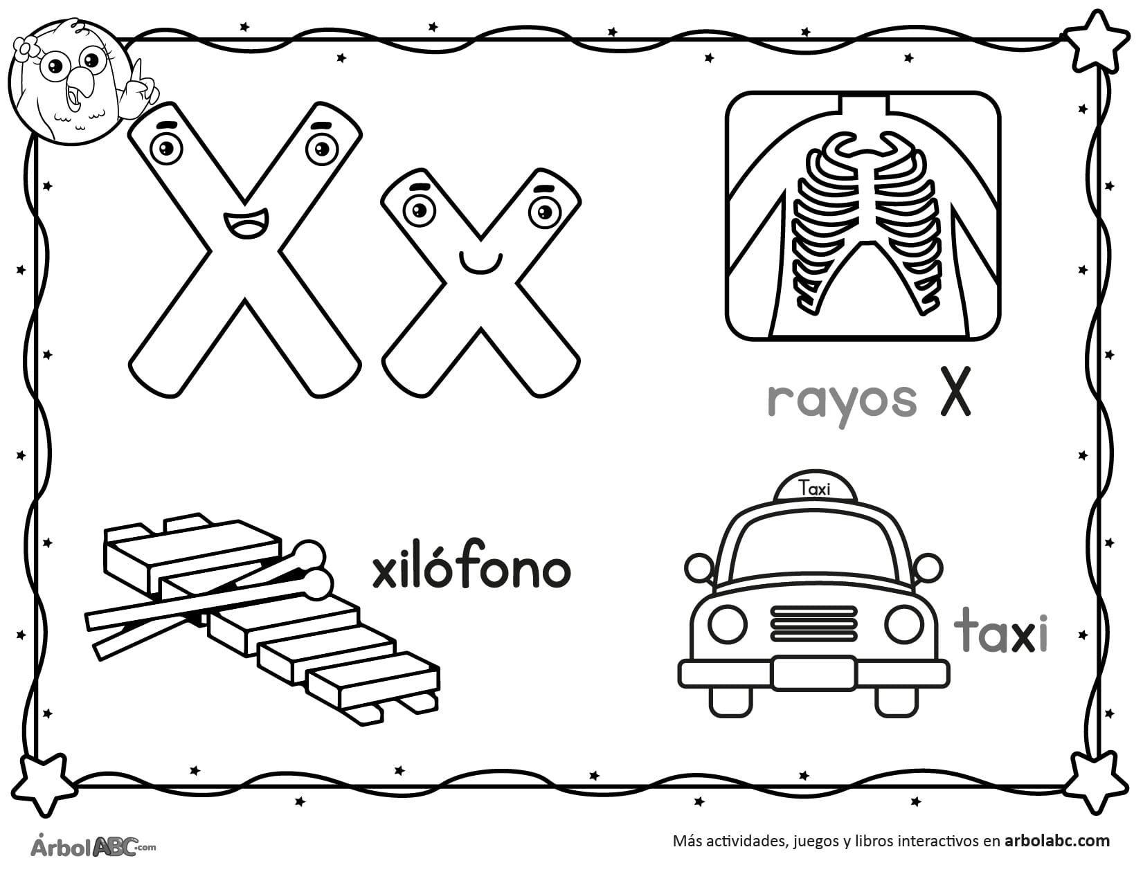 Letra X Para Colorear Arbol Abc En 2020 Actividades De Letras Abecedario Letras