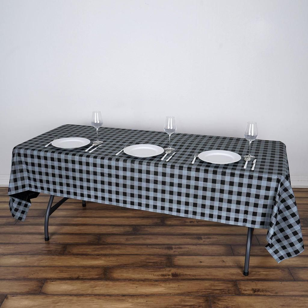 54 X 108 Gray Black Disposable Checkered Plastic Vinyl Rectangular Tablecloth Plaid Tablecloth Table Cloth Waterproof Tablecloth