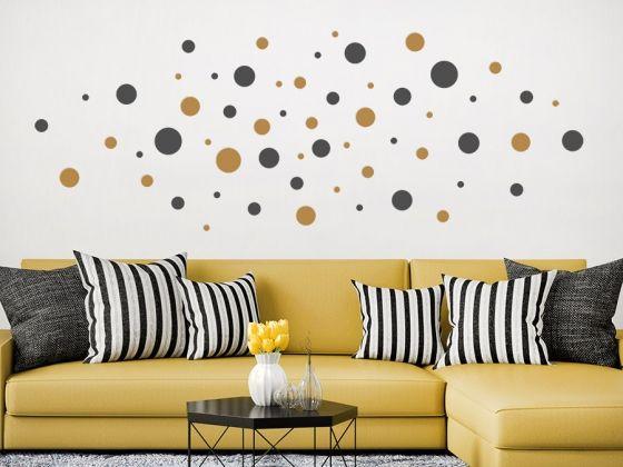 punkte set wandgestaltung farbe wandtattoo und kreise. Black Bedroom Furniture Sets. Home Design Ideas