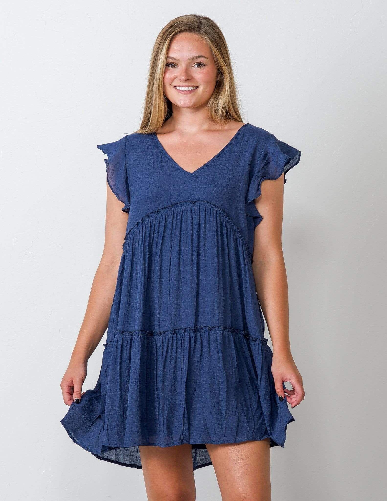 Paradise Blue Babydoll Flutter Dress L In 2021 Flutter Dress Gameday Dress Dresses [ 2048 x 1583 Pixel ]