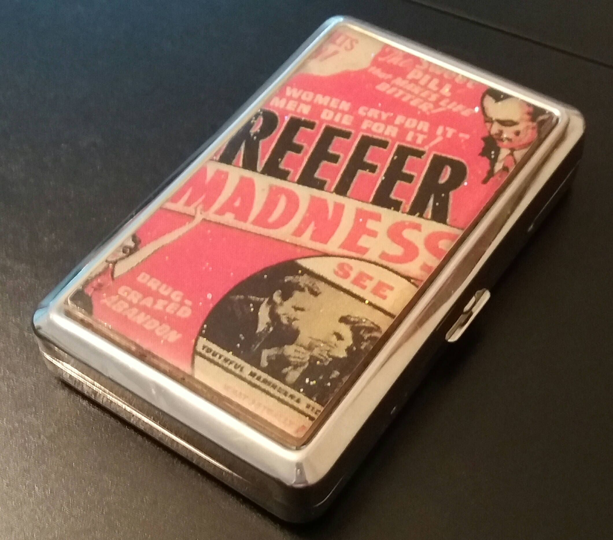 Reefer Madness Metal Wallet Retro Vintage Business Card Holder USED ...