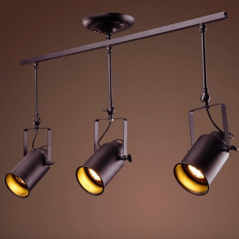 Attrayant NEW Vintage Industry Iron Adjustable Led E27*1/2/3/4 Heads Pendant Track  Light For Shop Restaurant Bar Decor Lamps 1663