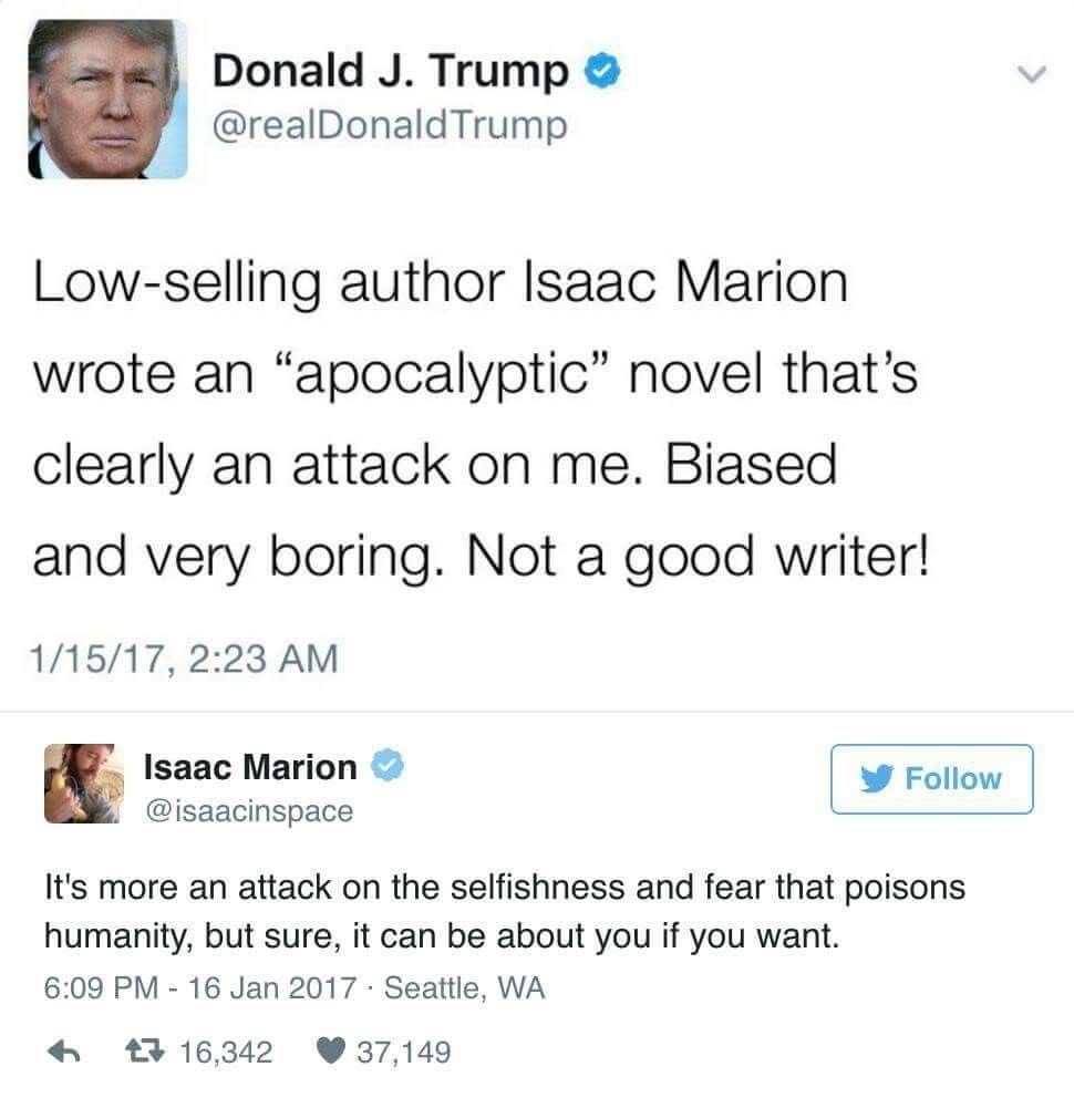 Don't be silly, Mr. Marion. Trump can't read a whole book. Someone just told him that, and his narcissism automatically thought it was true.