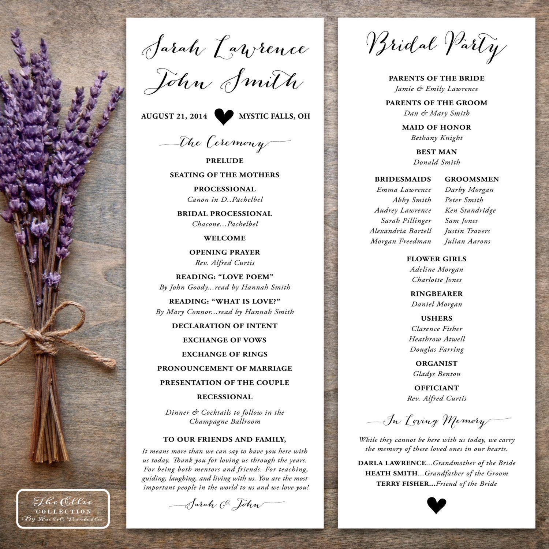 Printable Wedding Program Rustic