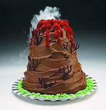 Birthday cake idea Island volcano chocolate cake D I N O S A U R