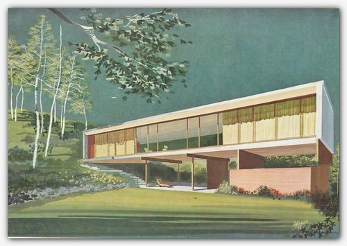 1960 Architectural Drawing Rendering Mid Century Modern Retro Vintage Atomic