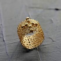 Wire Crochet Band Ring With Cross , Gold Filled Jewelry