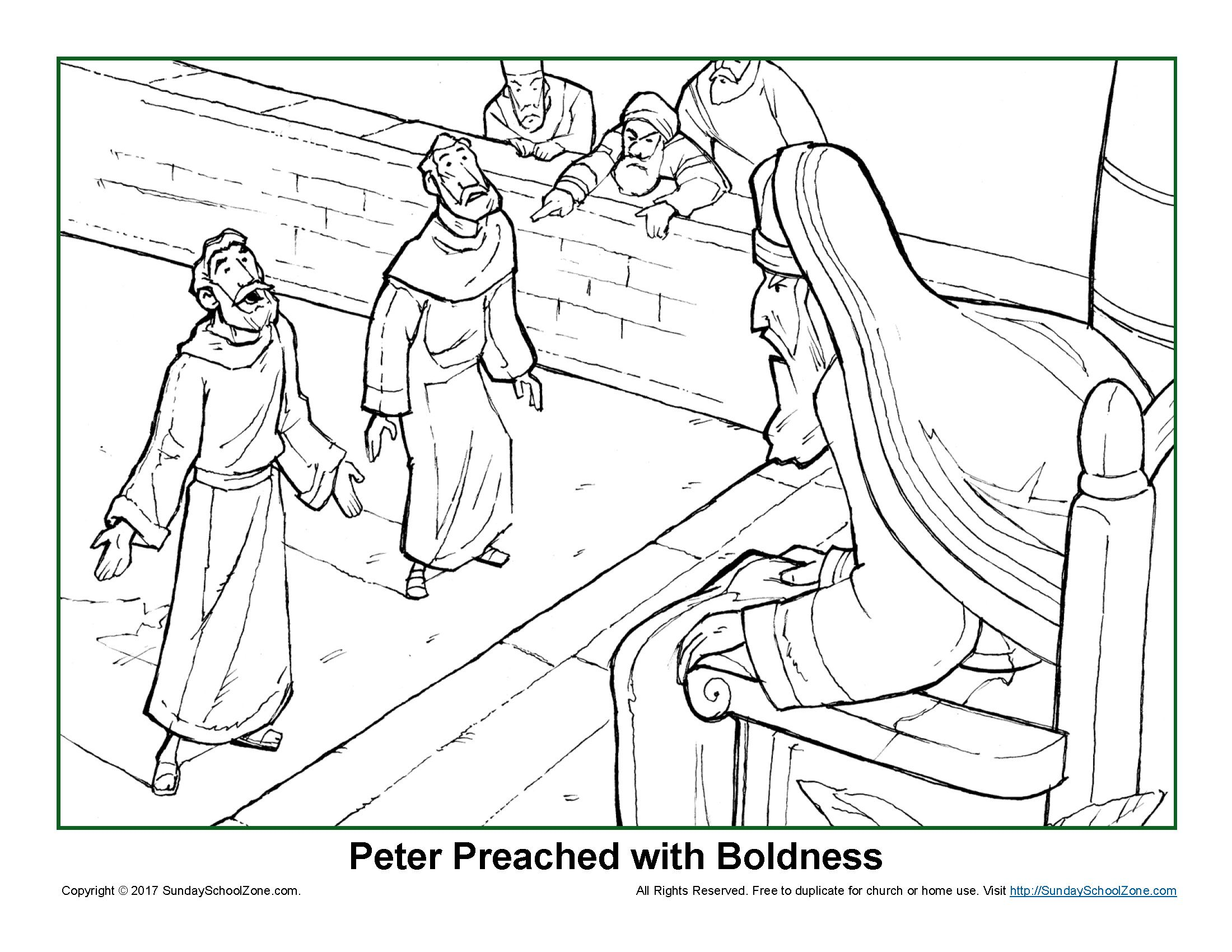 Peter Preached With Boldness Coloring Page On Sunday School Zone Sunday School Coloring Pages Bible Coloring Pages Jesus Coloring Pages