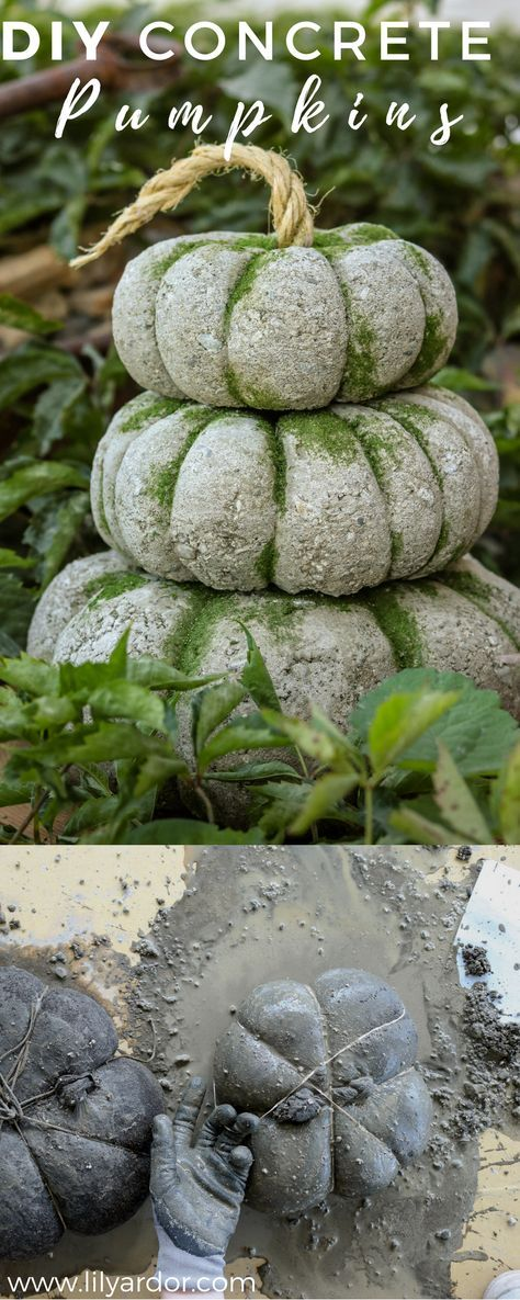 EASY! Pumpkins made by filling up tights with concrete! #diypumpkins #diyfalldecor