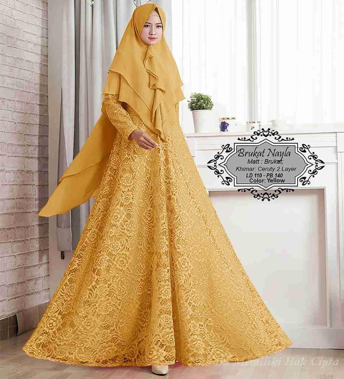 Model Baju Gamis Brokat Kuning Kombinasi Polos  Gaun formal