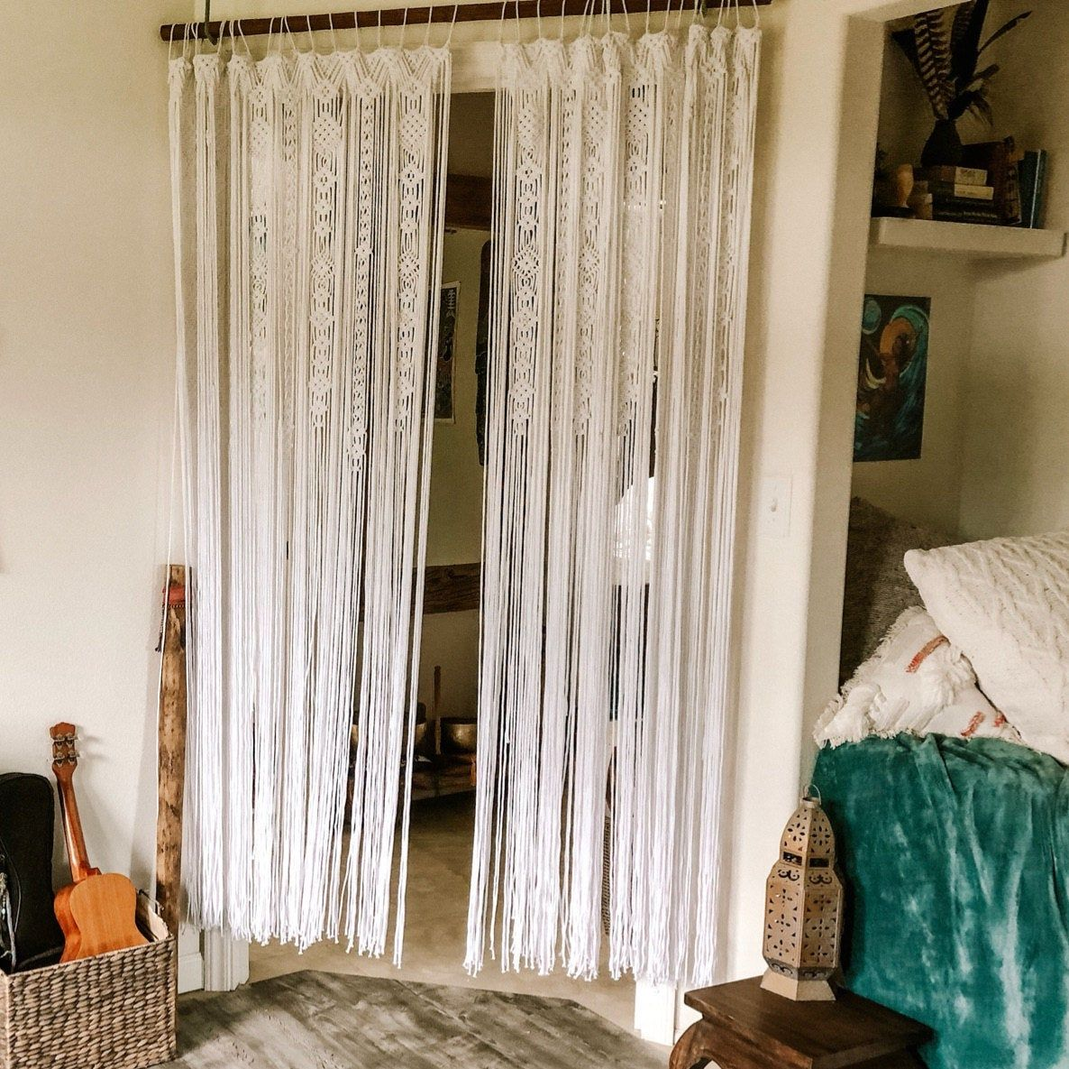 Large Macrame Door Curtains Of 2 Or 1 Panels Macrame Window Etsy Macrame Curtain Macrame Door Curtain Large Macrame Wall Hanging