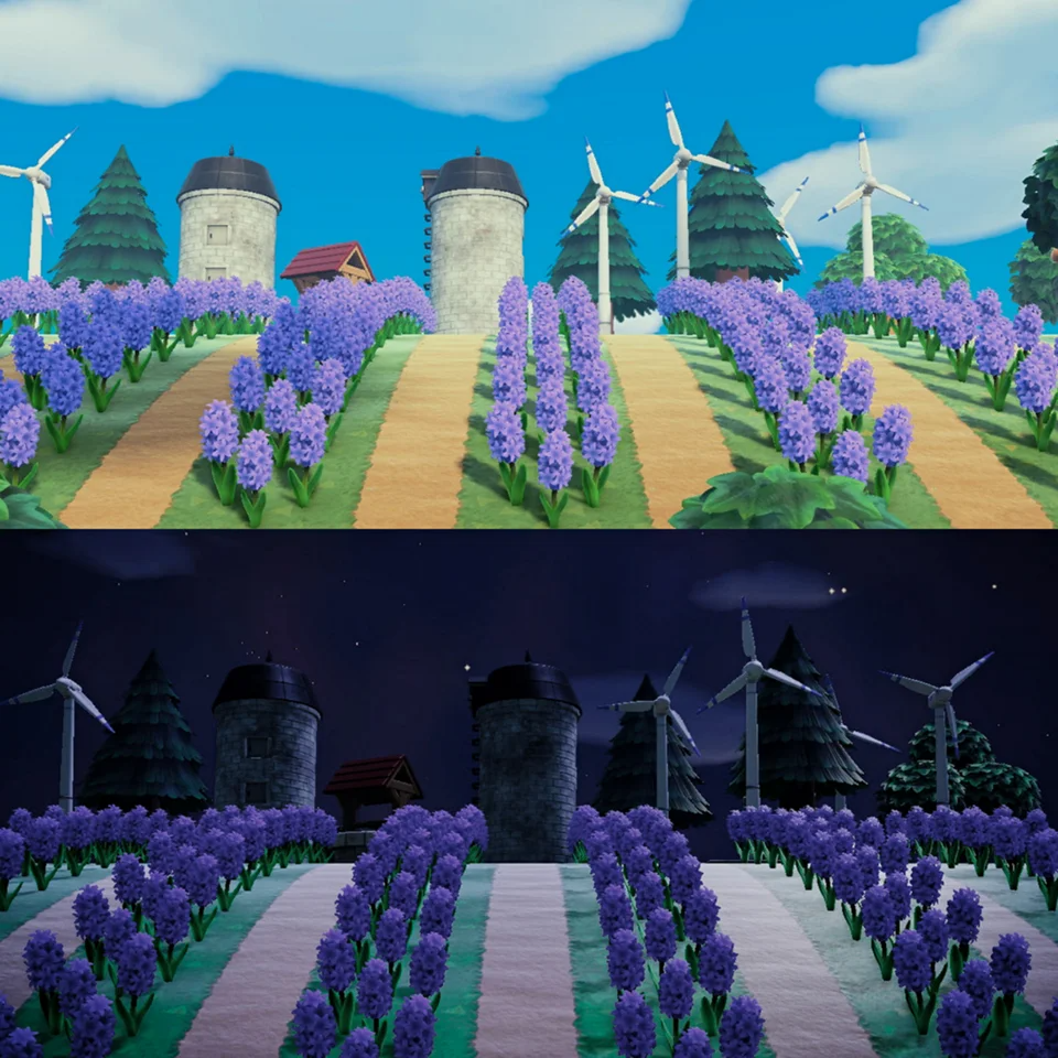 (1) Lavender/Wind Farm Day Vs. Night Time AnimalCrossing