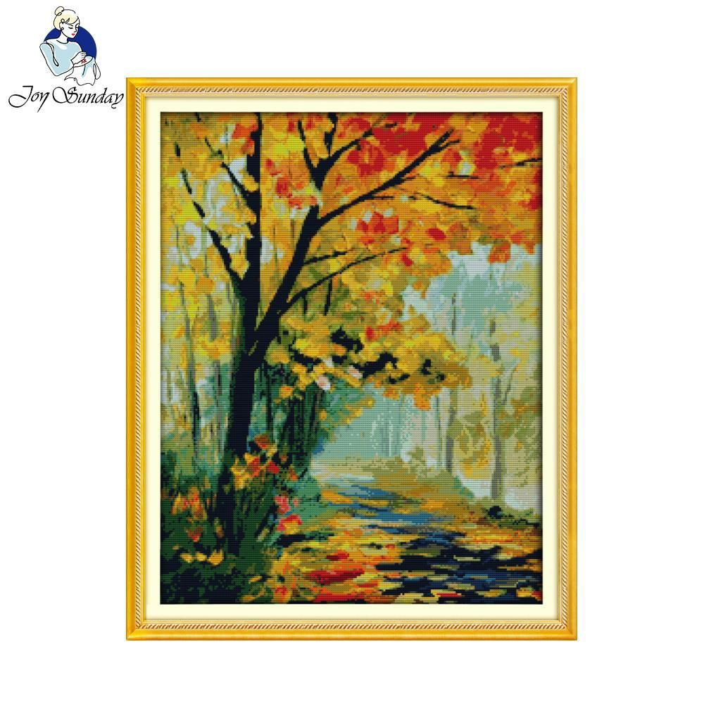 Joy Sunday scenic style Autumnal scenery cross stitch landscape embroidery kits stamped fabric for beginners. Yesterday's price: US $32.50 (28.75 EUR). Today's price (January 17, 2019): US $17.23 (15.34 EUR). Discount: 47%. #Arts #Crafts #Sewing #scenery #beginners #autumnscenery