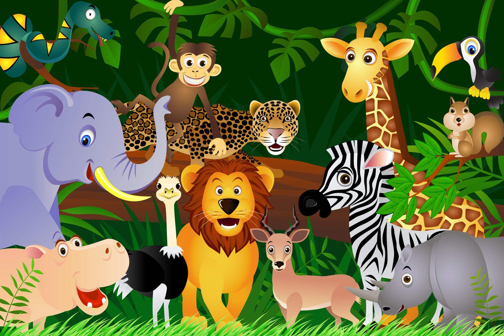 Jungle Animals Wallpaper Mural, custom made to suit your