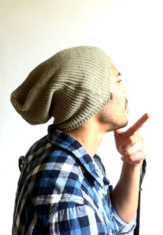 Slouch Mens Beanie Men Clothes Tan Brown Hemp by MissTopKnot  cbc91666d89