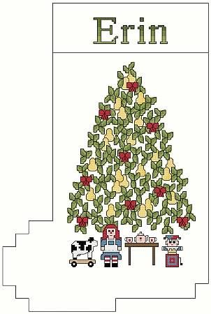 Pear Tree Christmas Stocking - cross stitch pattern designed by Thomas Beutel. Category: Tree.