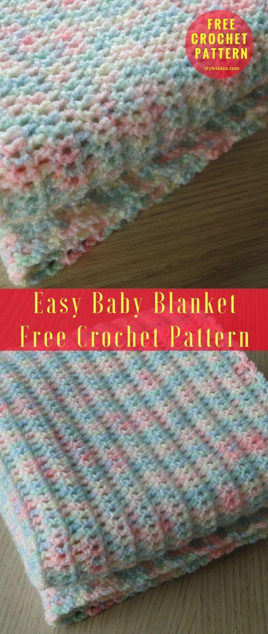Easy Baby Blanket [Free Crochet Pattern] | STYLESIDEA | crochet ...