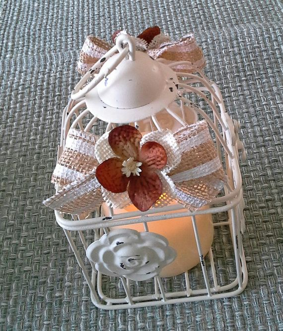Hand decorated Birdcage with Burlap Flower by DSKDesign on Etsy